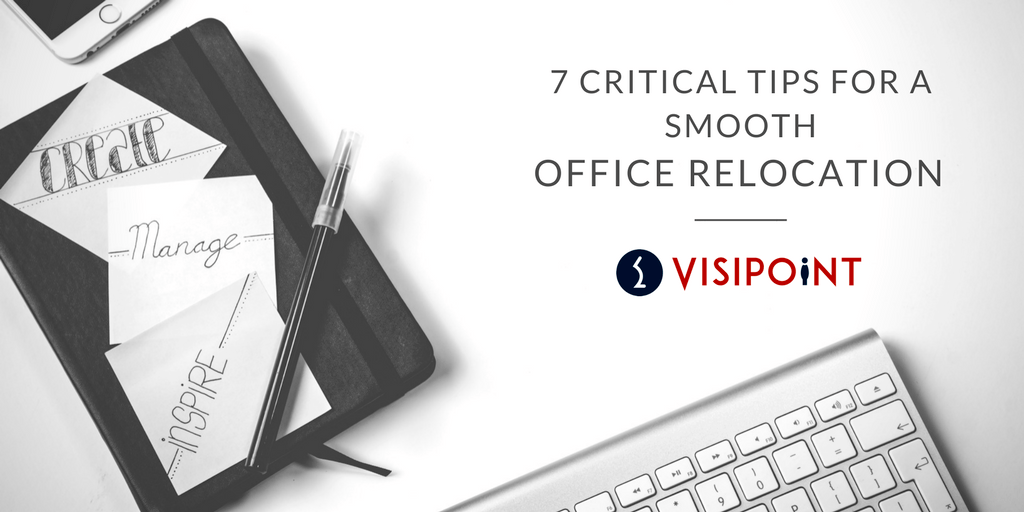 Text: 7 Critical Tips for a Smooth Office Relocation on white background with office items surrounding it