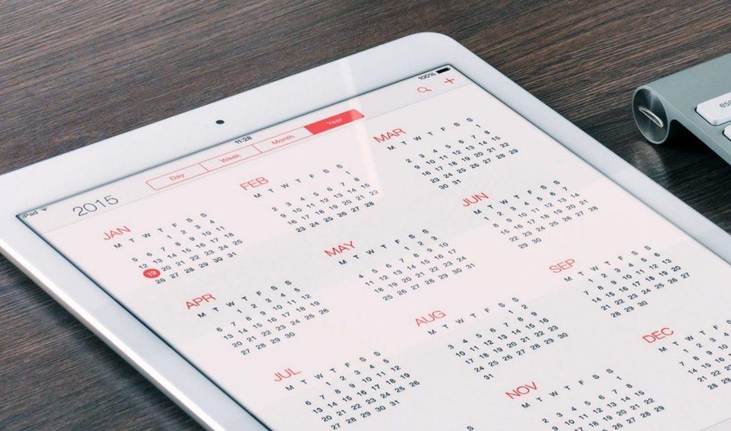Calendar application running on an iPad