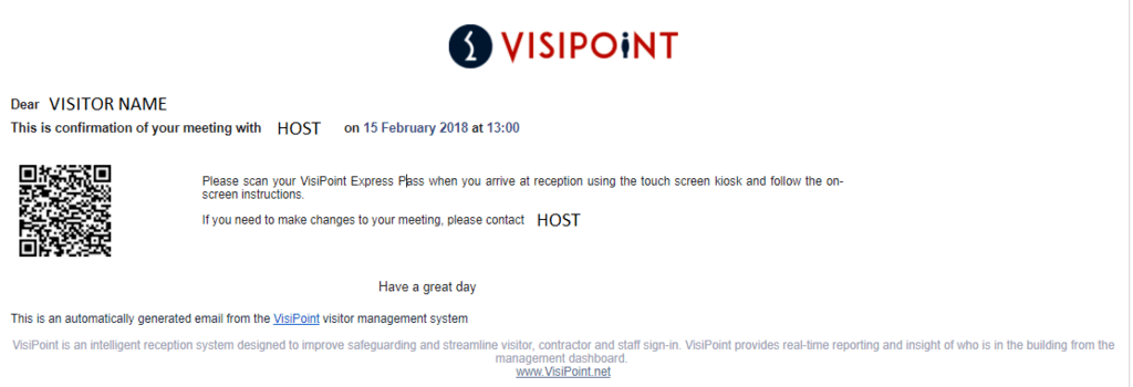 VisiPoint Express Pass Email