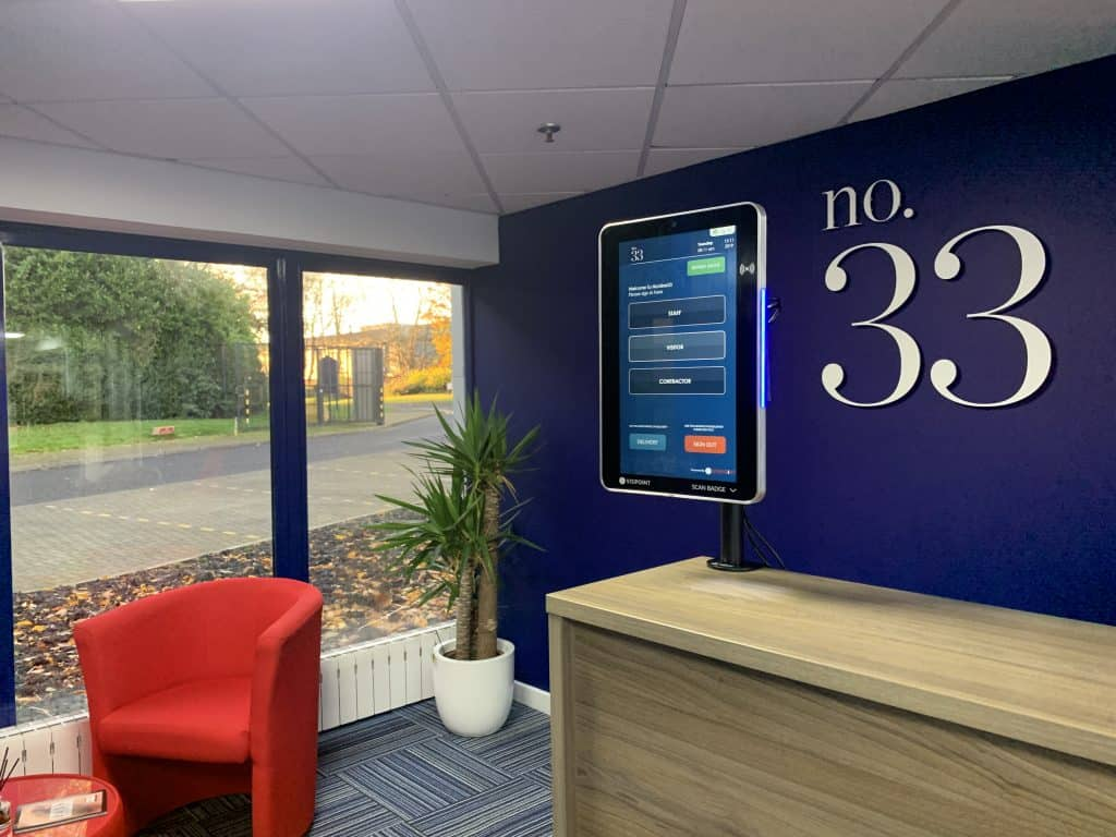 VisiPoint 15 inch at Number 33 Business Centre Reception